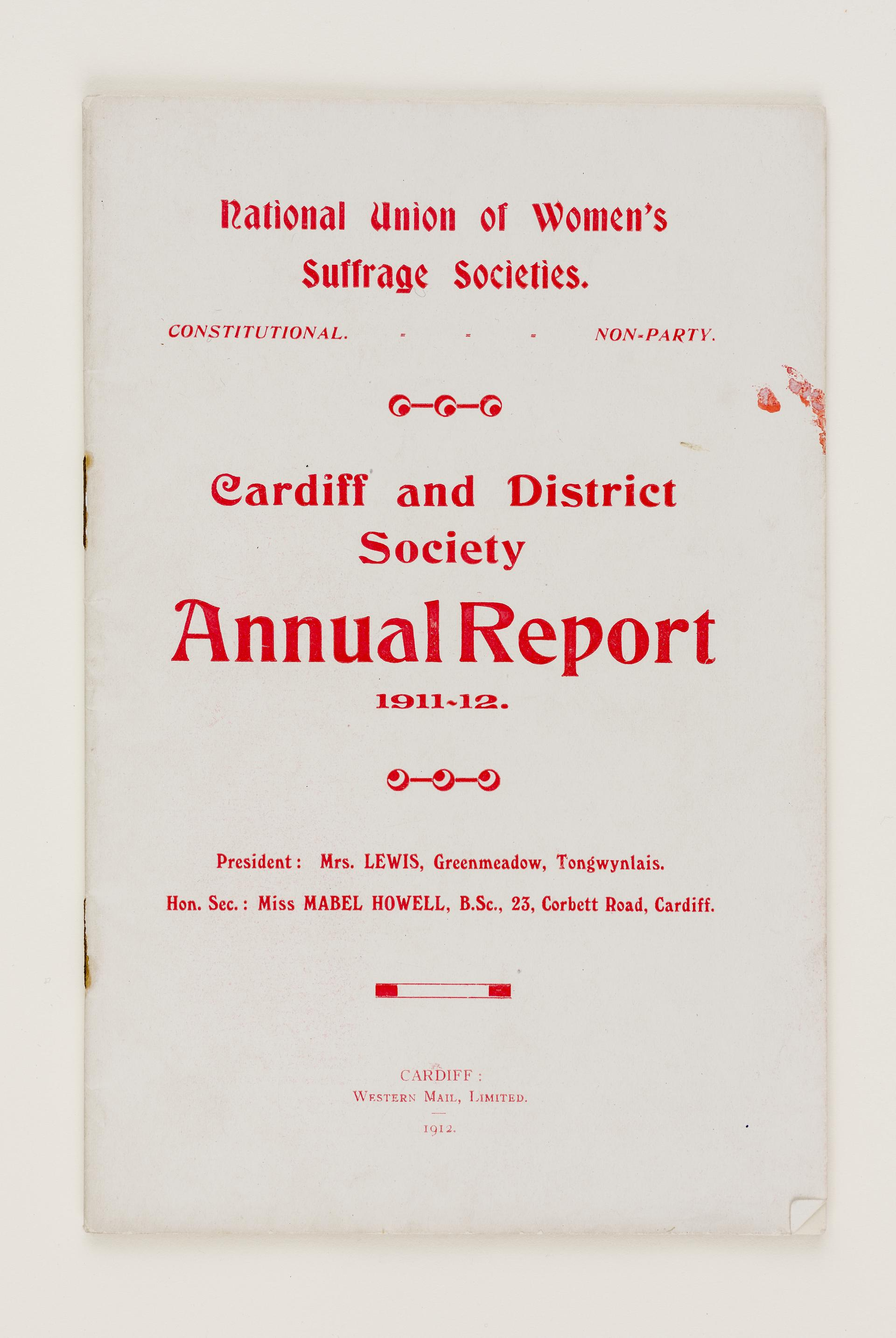 Cardiff and District Society. Annual Report 1911 - 1912