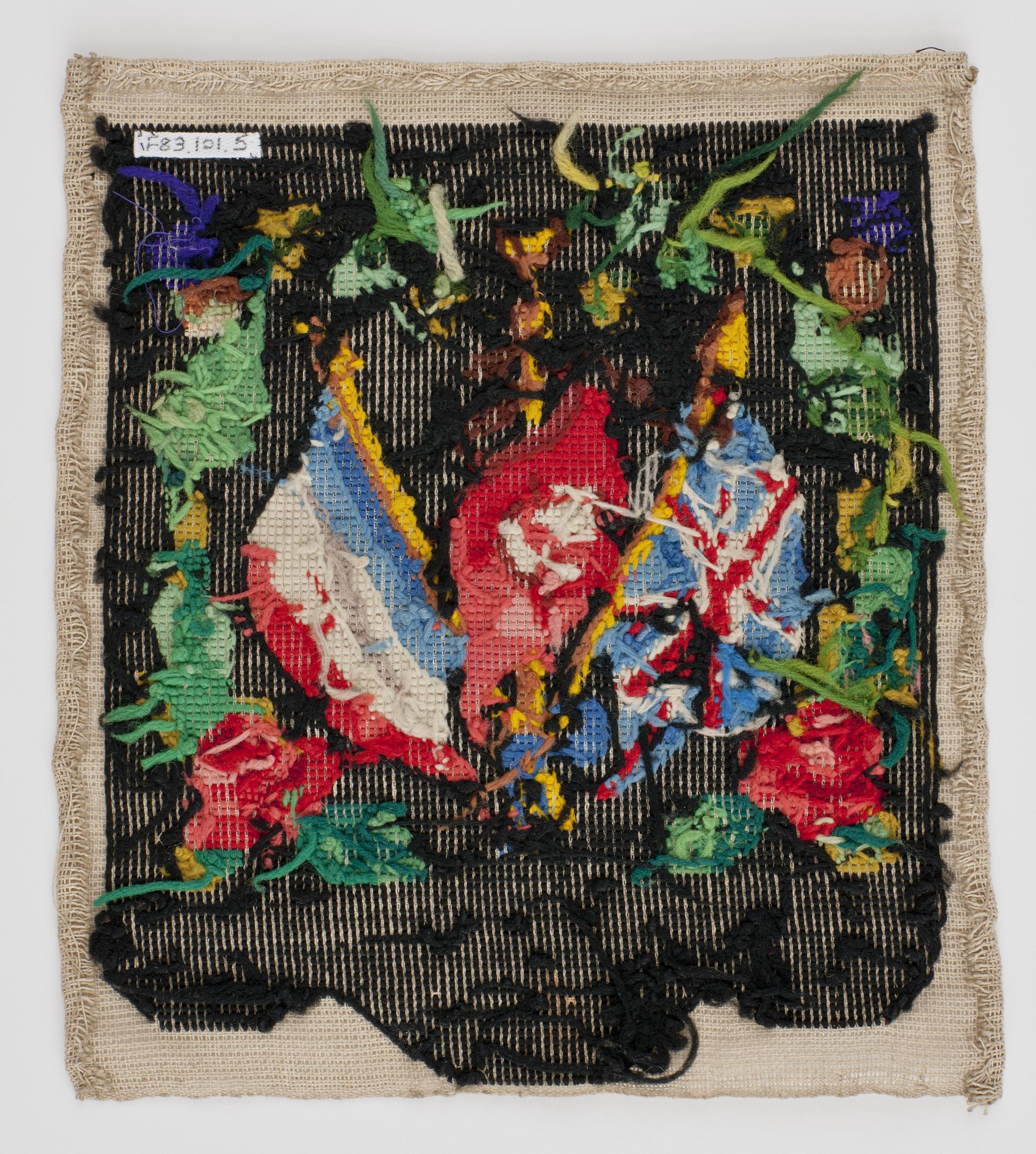 Open the image &lsquoWoolwork picture embroidered with British, French & Turkish flags'