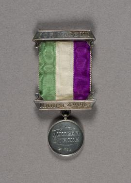 Hunger Strike medal awarded to Kate Williams Evans by Women's Social and Political Union, March 1912