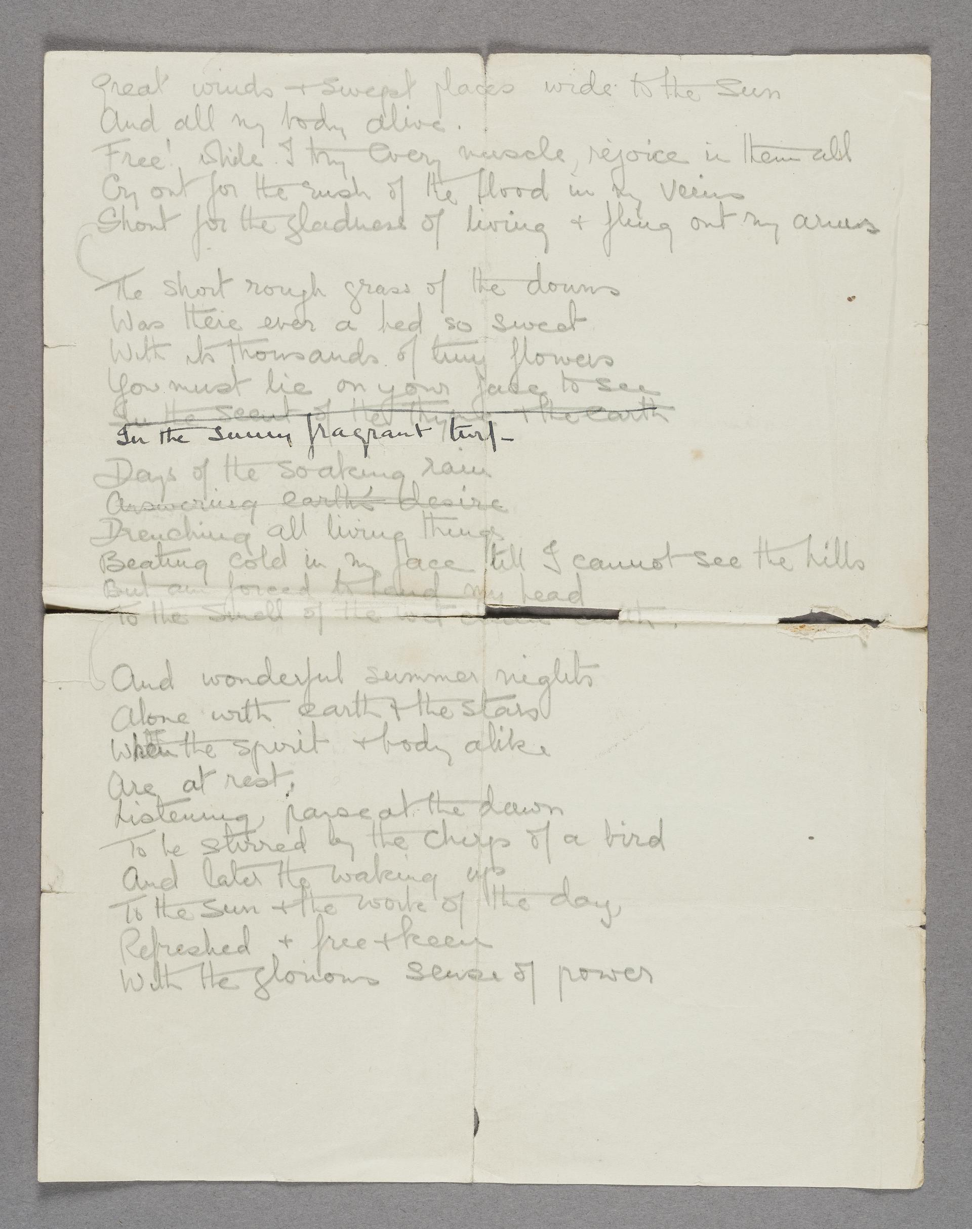 Sheet of handwritten poetry by a suffragette, G.M. Hazel, in Holloway Prison. Dated March 7th 1912