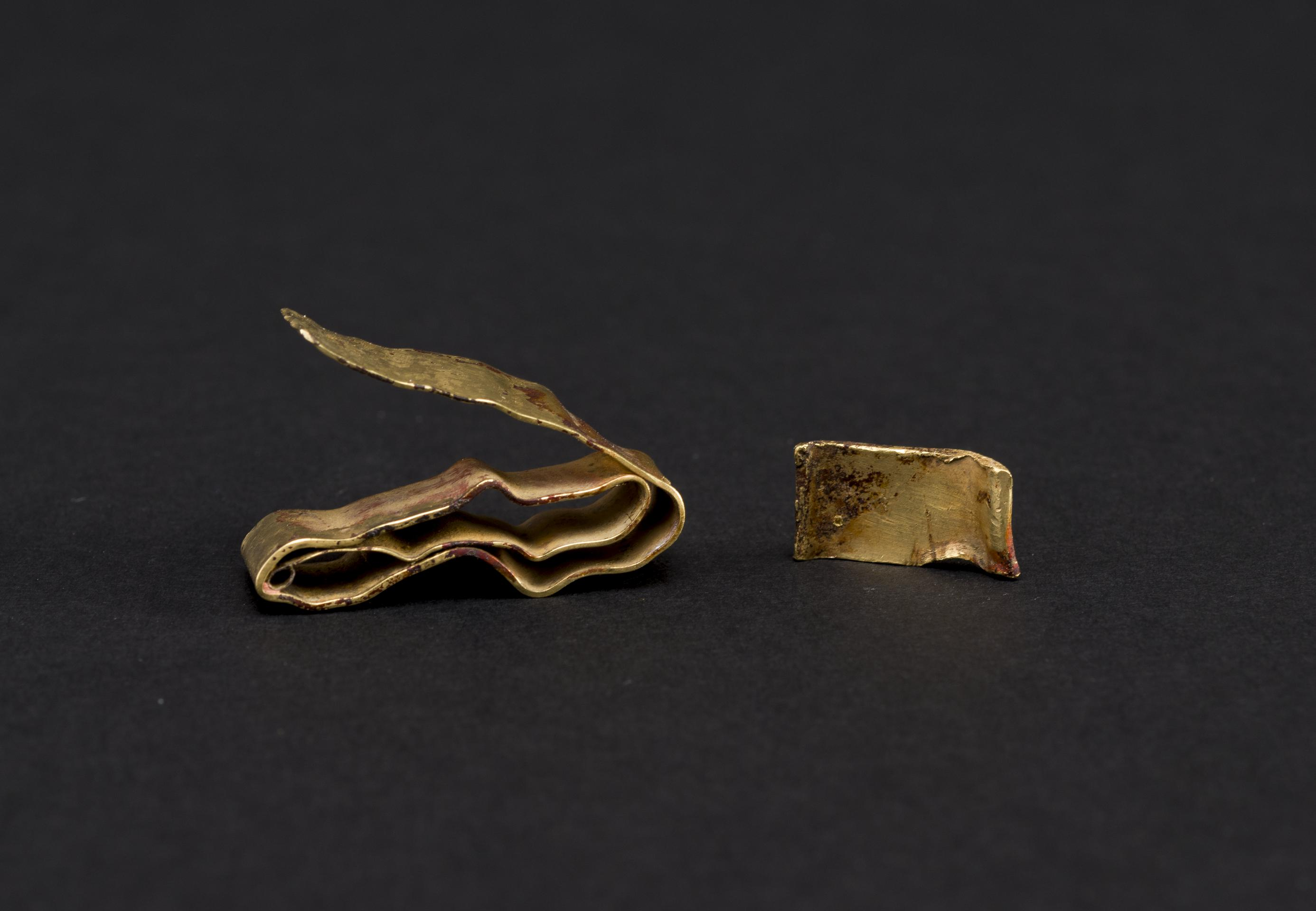 Open the image 'Late Bronze Age - gold bracelet & ribbon fragment'