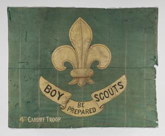 Flag given by the 4th Cardiff Troop (Boy Scouts) to Captain Robert Falcon Scott to take with him on his expedition to the South Pole in 1910.   length: 925mm width: 1150