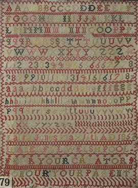 Sampler (alphabet), made in Llanerfyl, 1852