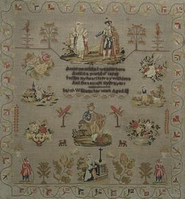 Sampler (verse & pictorial motifs), made in Morganstown, c. 1846