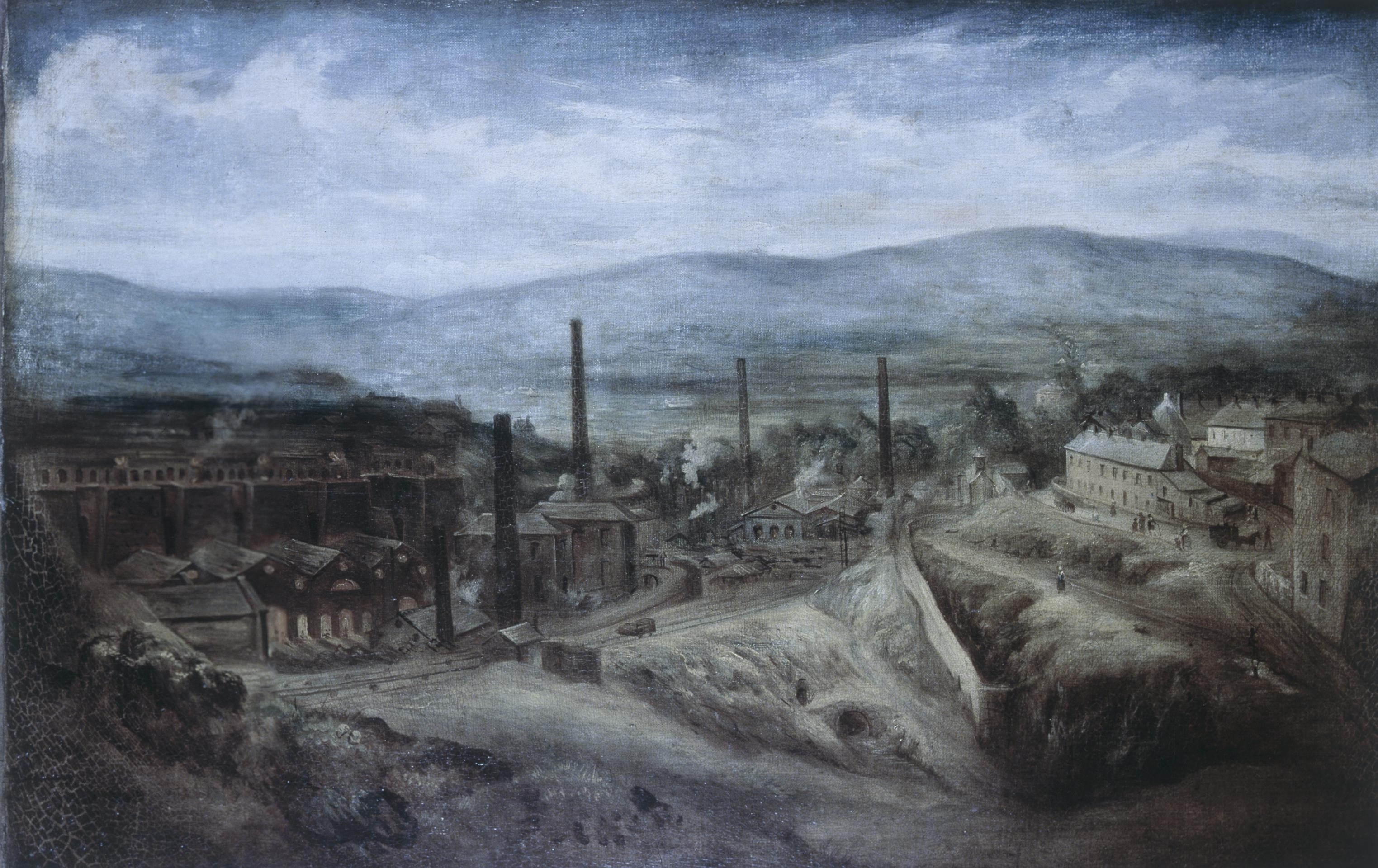 Open the image &lsquoColour transparancy of an oil painting of the Penydarren ironworks (NMW A 3797)'
