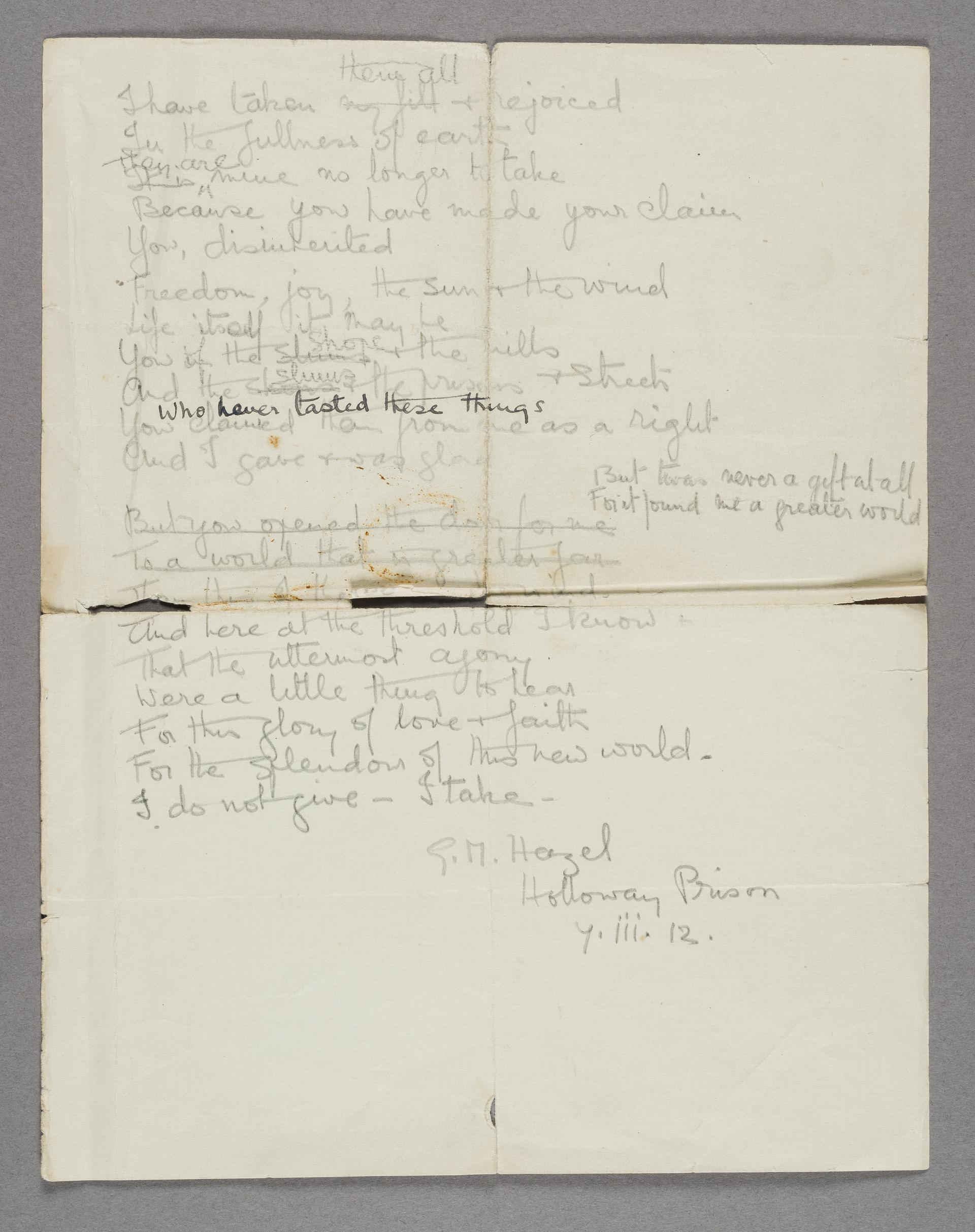 Sheet of handwritten poetry by a suffragette, G.M. Hazel, in Holloway Prison. Dated 7th March 1912