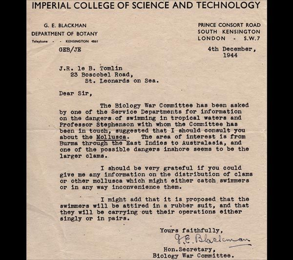 Letter from the Honorary Secretary of the Biology War Committee, 4 December 1944
