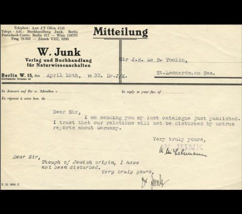 Postcard from W. Junk, Berlin, 18 April 1933.