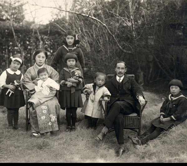 A photograph of the Japanese shell collector, Shintaro Hirase, his wife and six children.