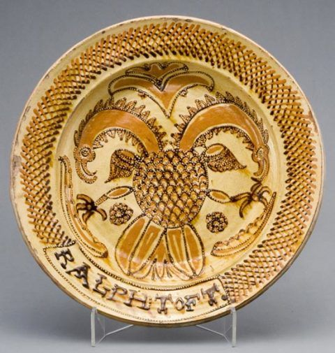 Slipware dish with double-headed eagle, made by Ralph Toft, Staffordshire, about 1663-88.