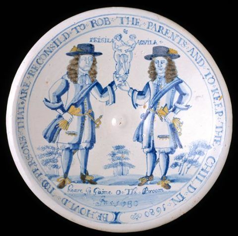 Delftware dish made in Brislington near Bristol, about 1680. Purchased in 1904