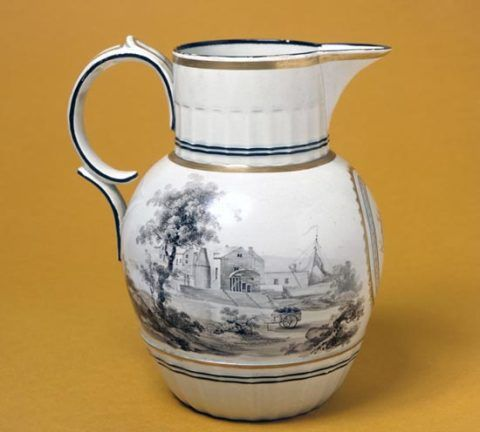 Enamelled pearlware jug, made at the Ferrybridge Pottery, Yorkshire, about 1800