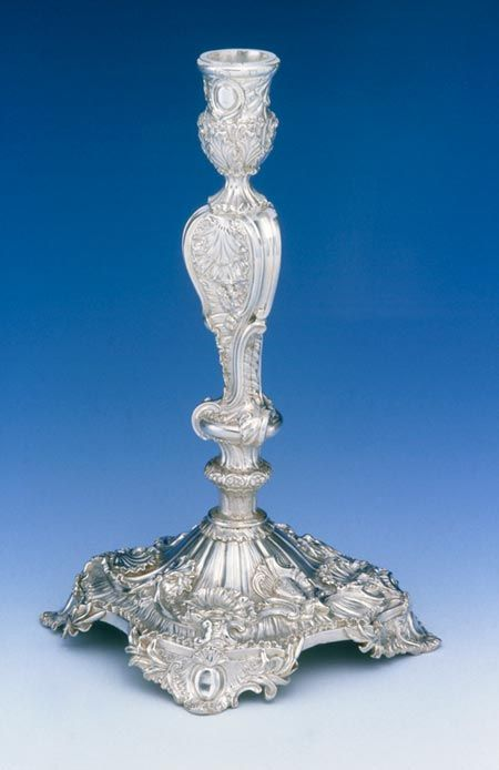 Candlestick made in 1734 by the French protestant silversmith Lewis Pantin in the newly fashionable rococo style.