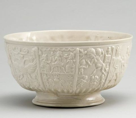 Slop bowl, Staffordshire, 1740s