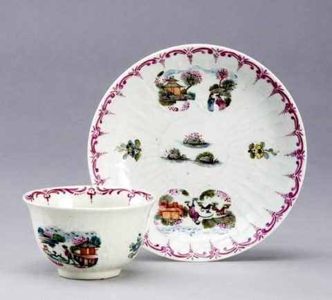 Chinese tea bowl and saucer, c. 1760-70