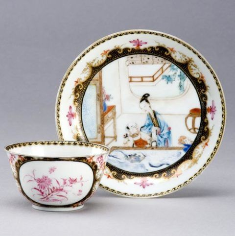 Porcelain tea bowl and saucer, Worcester, 1755-8