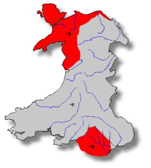 Welsh dialect areas of 'a' in final syllables