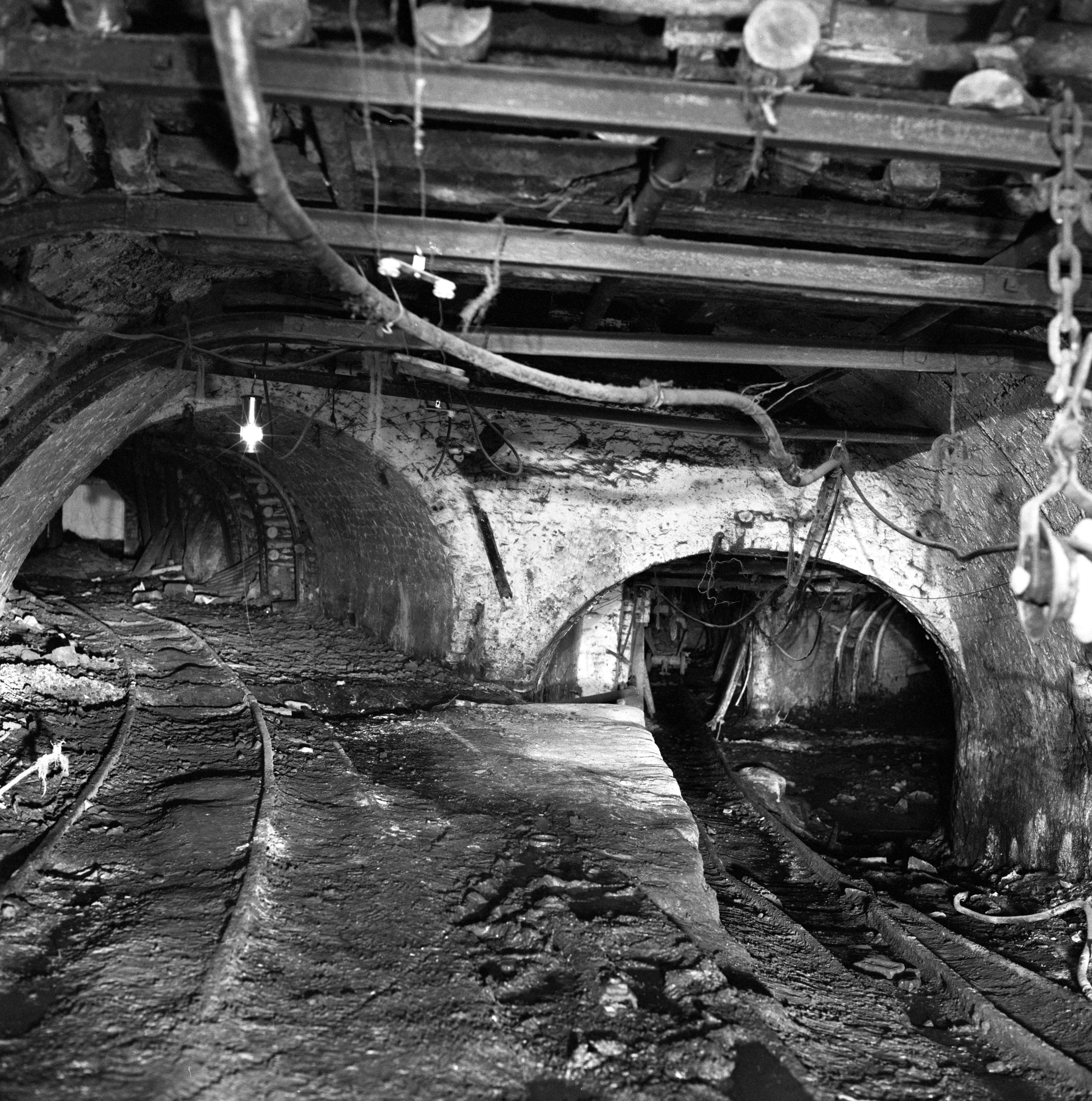 Junction near pit bottom, Big Pit 1975, now part of the museum's underground tour.