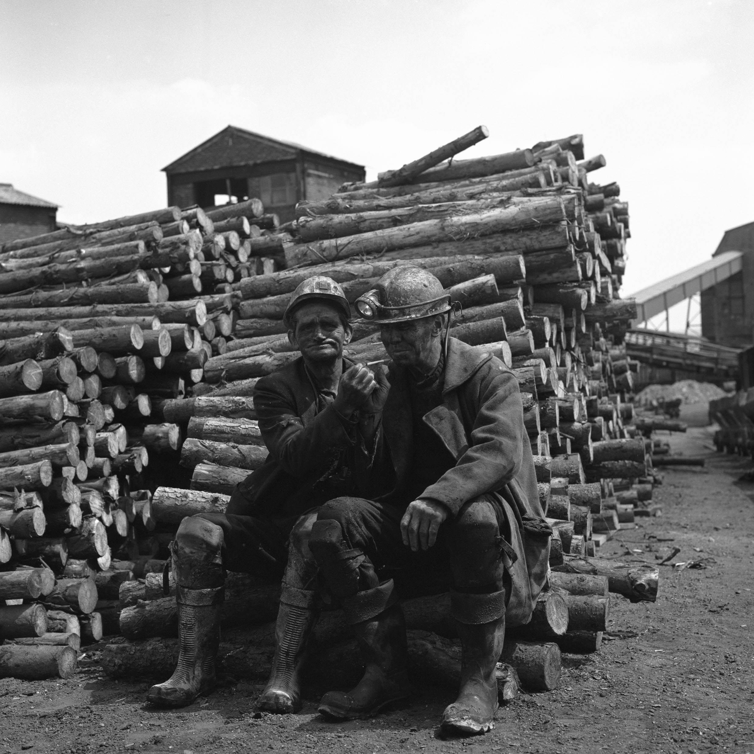Two Blaenavon miners in the timber yard at the end of the morning shift, 1978.