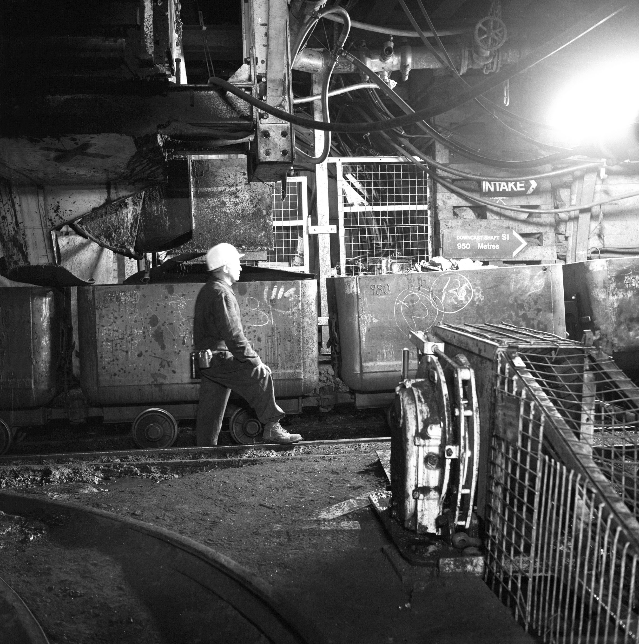Cynheidre Colliery,coal drams at an underground loading point, c.1978