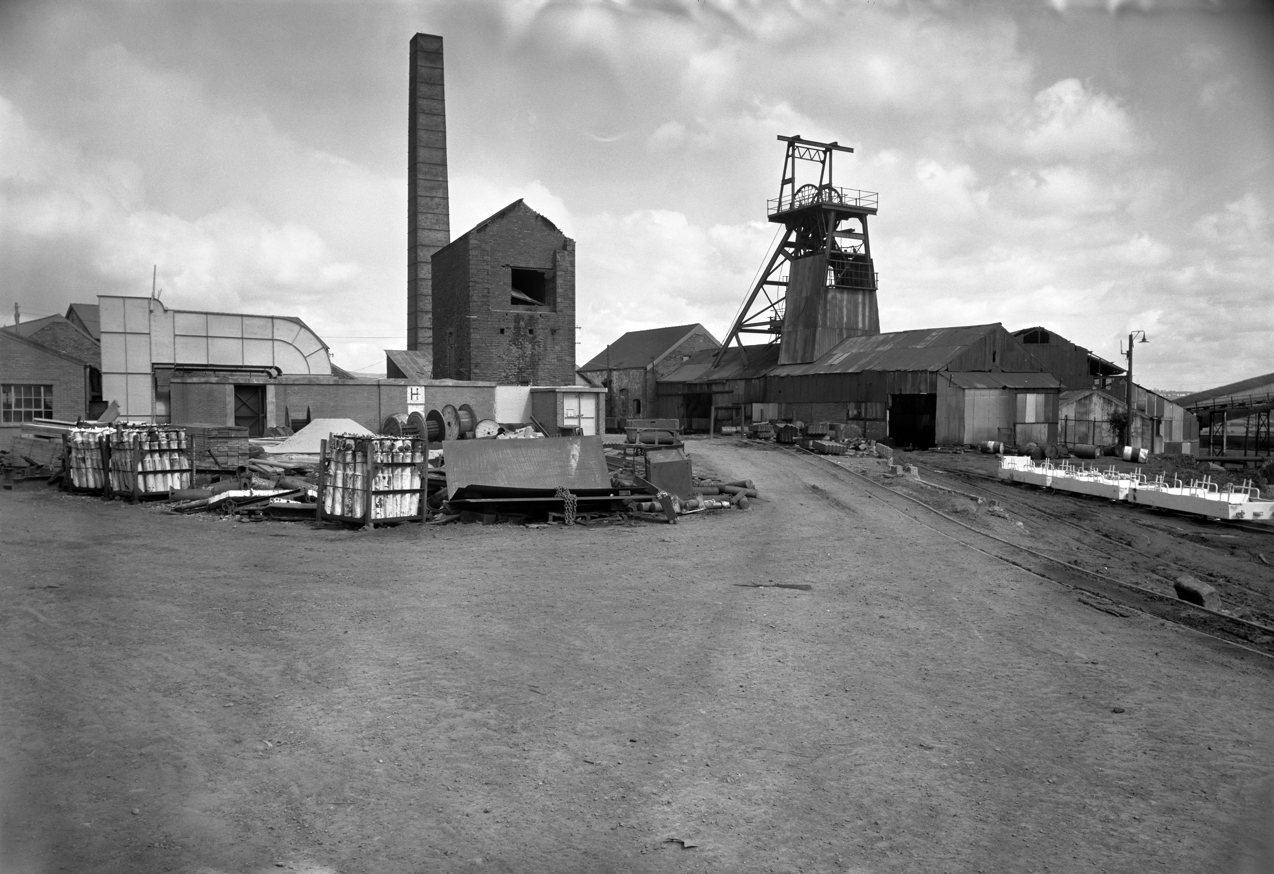 Morlais Colliery, a general view, note the derelict engine pumping house, 1978