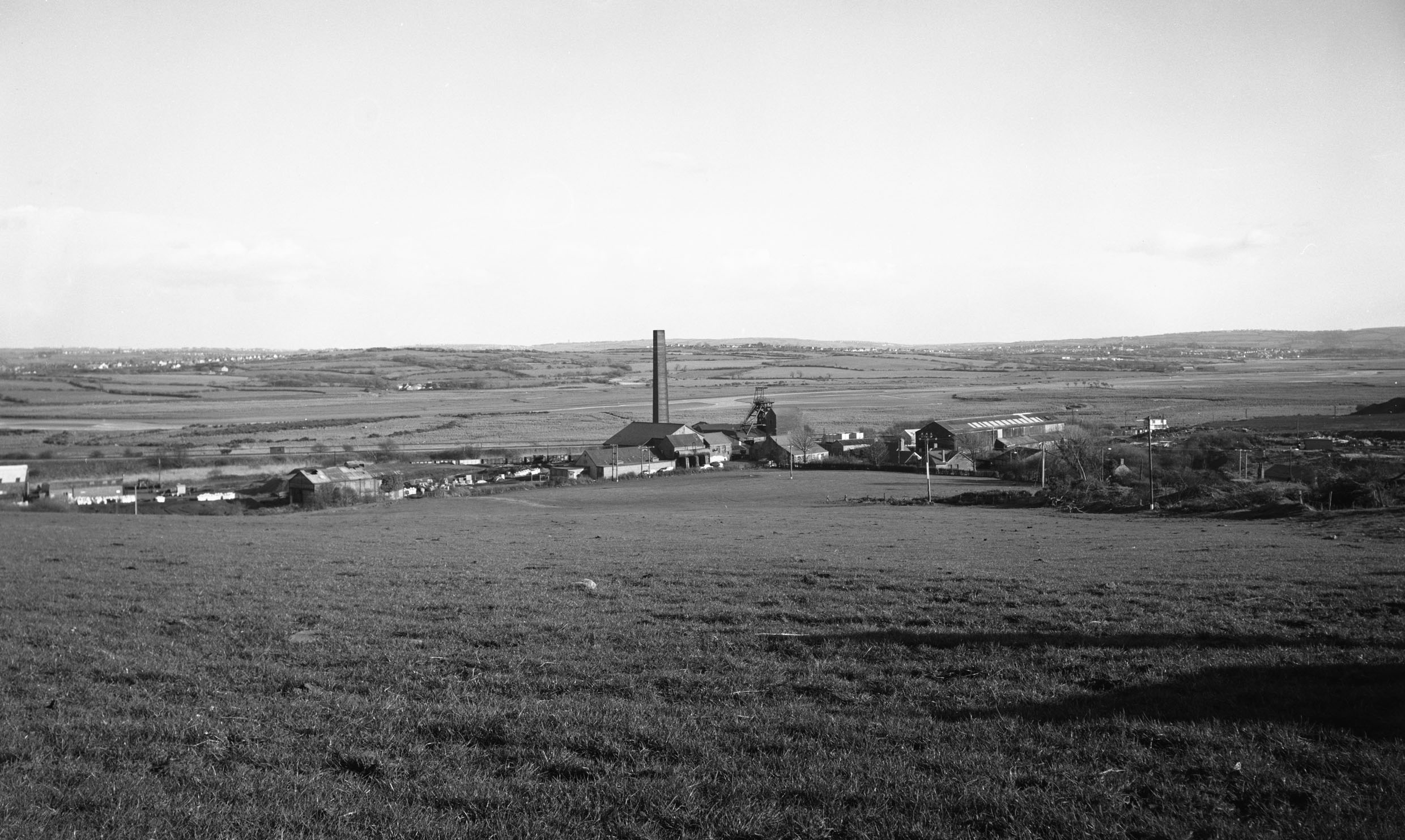 Morlais Colliery, general view  looking east across the River Llwchwr, 1978.