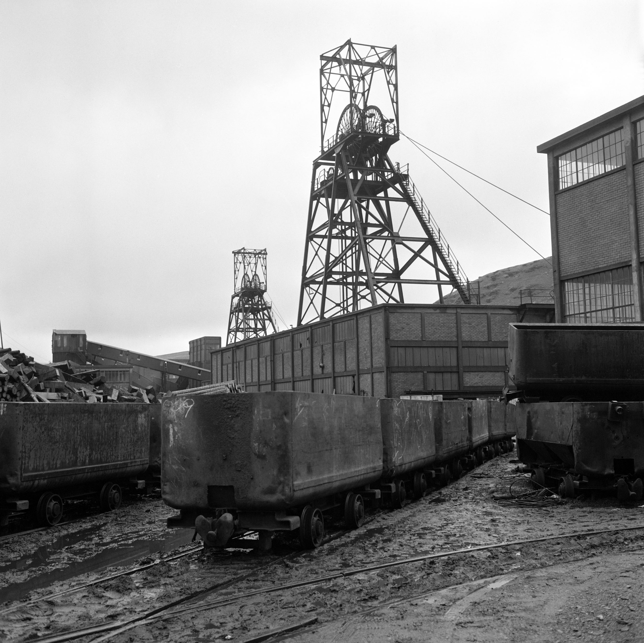 Maerdy Colliery, 1977, empty mine cars waiting at pit top.