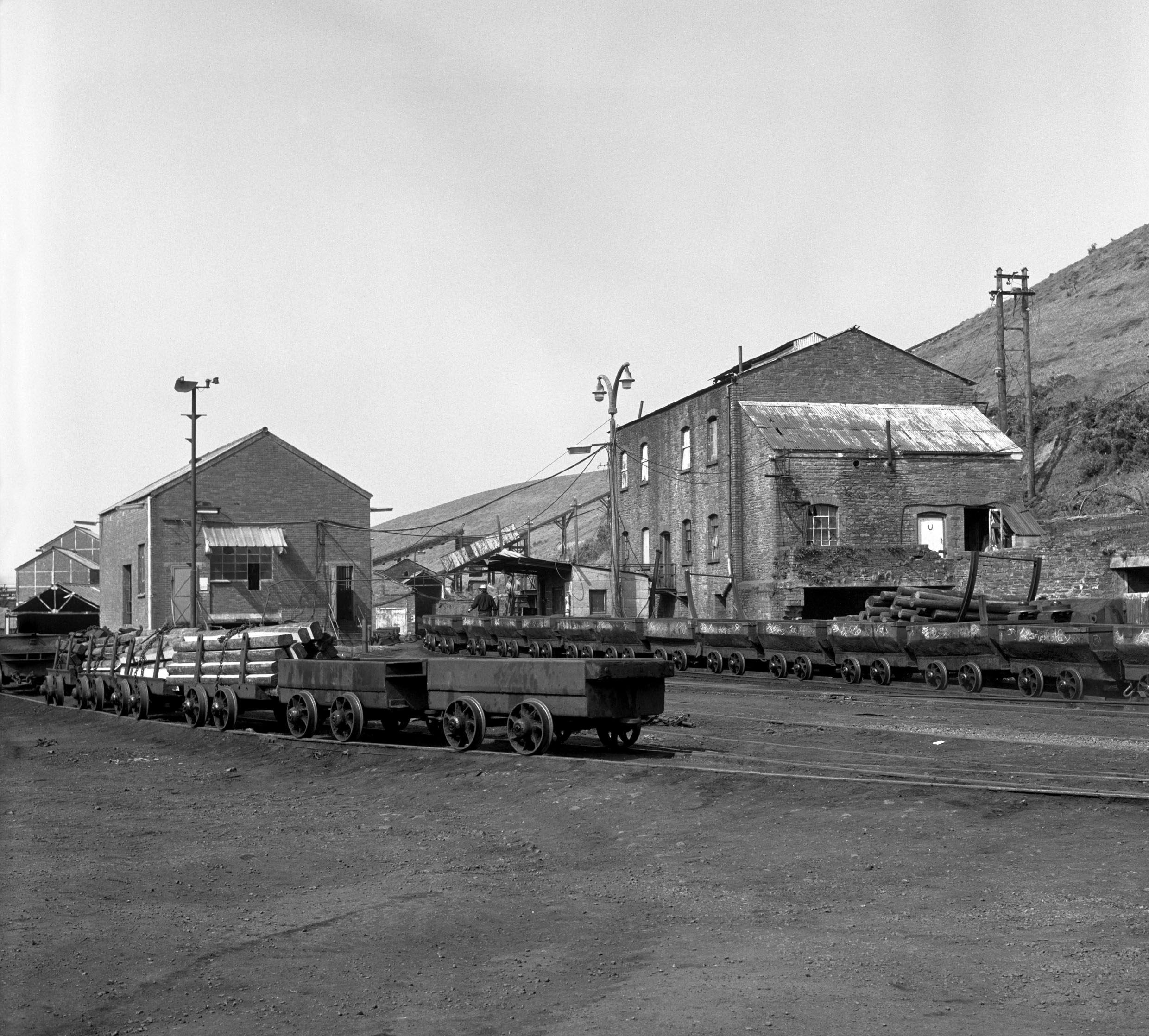Graig Merthyr Colliery yard in 1977 with a long journey of drams waiting to be run into the mine.