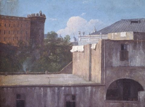 Jones, Thomas. Buildings in Naples with the North-East side of the Castle Nuovo. (1782)