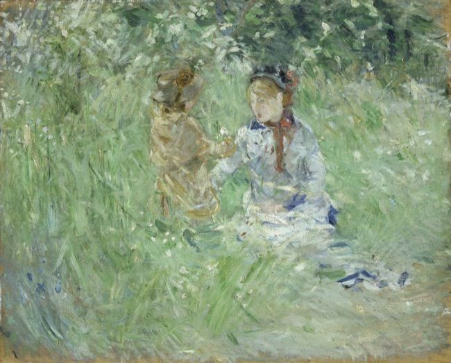 Morisot, Berthe. Woman and Child in a meadow at Bougival. (1882)