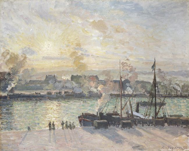 Pissarro, Camille. Sunset, the Port of Rouen (steamboats) (1898)