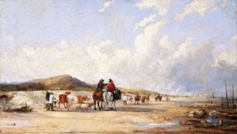 Pritchard, Edward Francis Drew. Crossing the sands to Swansea market. (19th century)