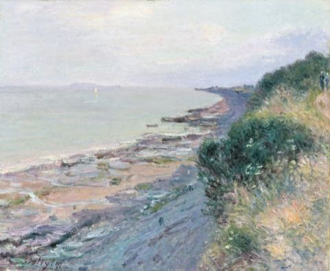 Sisley, Alfred. The Cliff at Penarth, evening, low tide. (1897)