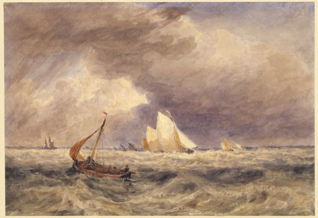 Ince, Joseph Murray. Fishing boats in a Squall. (1852)