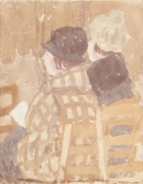 John, Gwen. Two women seated in church.