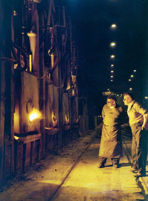 Ebbw Vale Open Hearth Furnaces, 1960s.