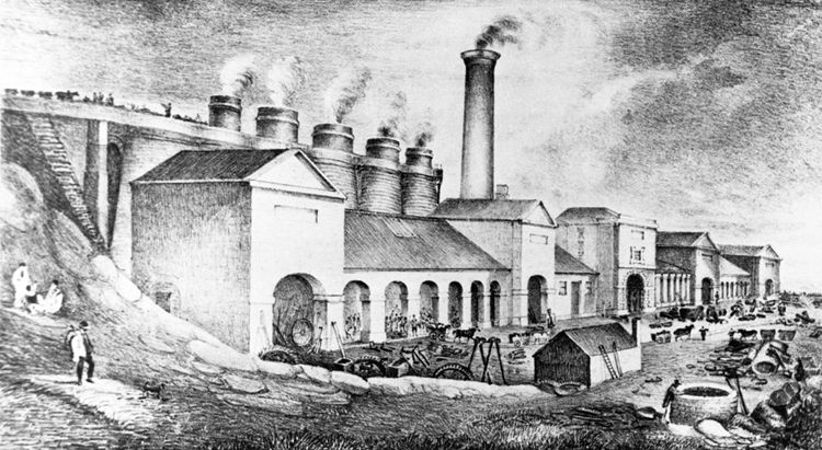 Abersychan Ironworks shown here in 1866 was bought by the Ebbw Vale Company in 1852.