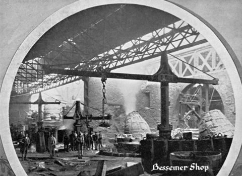 The Bessemer steel converters kept the works going through the 1880s.