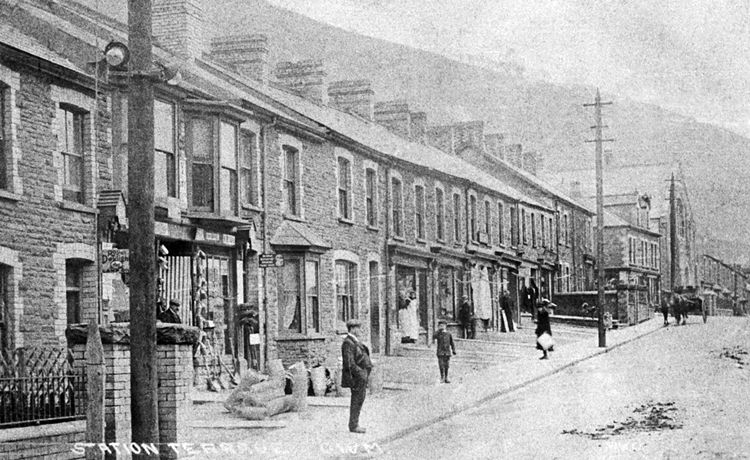 Station Terrace, Cwm's first major shopping centre, in 1913.