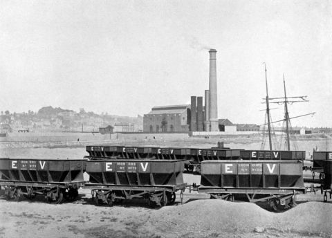 Ebbw Vale's inland location necessitated a huge fleet of railway trucks to haul iron ore from the Newport wharves to the furnaces