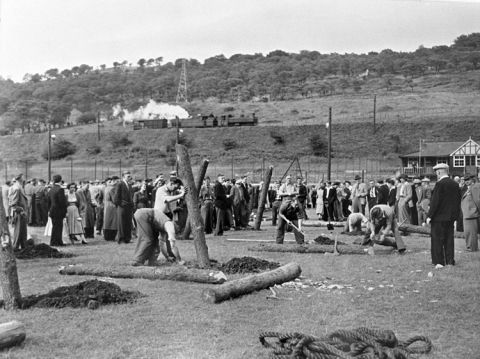 Underground timbering competition at Cwm Betterment Society Carnival 1956