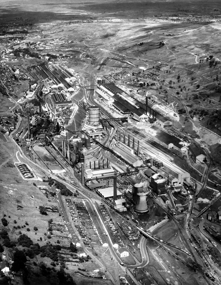 An air view of the works in August 1957