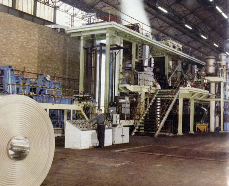 The no 2 electrolytic tinplating line was the fastest in the world when installed in 1961.