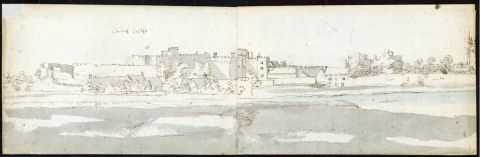 <em>Cardiff</em> (1678) Francis Place. Double-page sketch 1