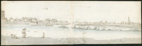 <em>Cardiff</em> (1678) Francis Place. Double-page sketch 2