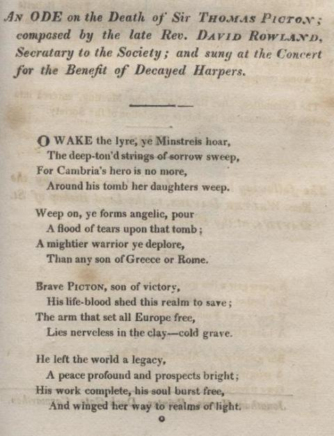 Concert for the benefit of decayed harpists, Carmarthen 1819