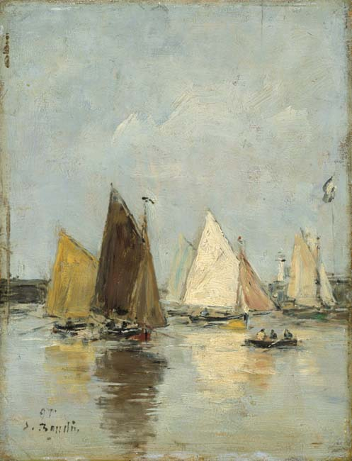 Boudin, Louis Eugene. The return of the boats. (1897)