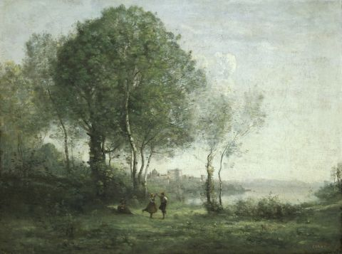 NMW A 2443, Jean Baptiste Camille Corot, Castel Gandolfo, dancing Tyrolean Shepherds by Lake Albano, 1855-60