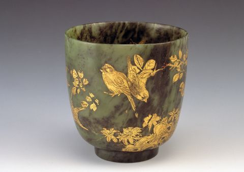 Jade cup decorated with birds in gilt, 1700-1900