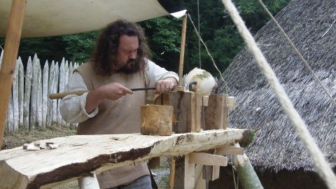 Ian Daniel having a go with a lathe